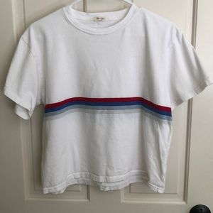 John Galt White with blue and red stripe SS tee